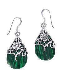 Aeravida | Floral Vine Ornated Teardrop Green Shell .925 Silver Earrings | Lyst