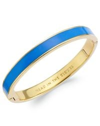 Kate Spade | Gold-tone Head In The Clouds Blue Hinged Bangle Bracelet | Lyst