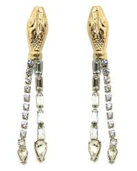 Tom Binns | Metallic Long Snake Crystal Earrings | Lyst