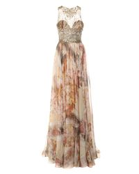 Marchesa   Pink Gold Foil Printed Floral Chiffon Gown   Lyst