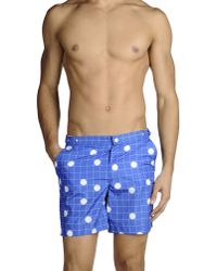 Robinson Les Bains - Blue Swimming Trunks for Men - Lyst