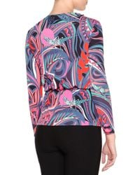 Emilio Pucci - Multicolor Belted Chain-waist Surplice Jersey Top - Lyst