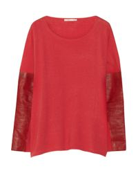 Maje | Red Ecureuil Leather-Trimmed Fine-Knit Wool And Silk-Blend Sweater | Lyst