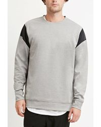 Forever 21 - Gray Colorblock Heathered Sweatshirt for Men - Lyst
