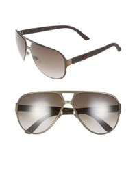 Gucci - Black 62mm Aviator Sunglasses - Brushed Brown for Men - Lyst