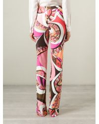 Emilio Pucci - Purple High Waist Printed Trousers - Lyst
