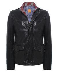 BOSS Orange | Black Jerian Leather Jacket for Men | Lyst
