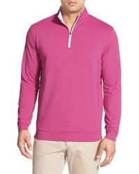 Peter Millar | Pink 'perth' Quarter Zip Terry Pullover for Men | Lyst