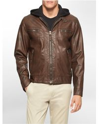 Calvin Klein - Brown White Label Faux Leather Hooded Moto Jacket - Lyst