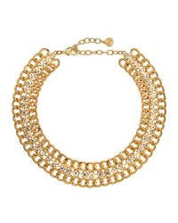 R.j. Graziano - Metallic Golden Crystal-link Necklace - Lyst