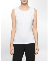 Calvin Klein - White Label Pleated Scoopneck Sleeveless Top - Lyst