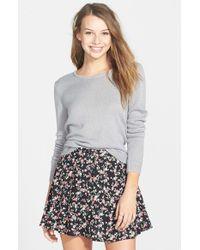 Lush - Black Button Front Skater Skirt - Lyst