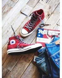 Free People - Red Converse Womens Overdyed Wash High Top Chucks - Lyst