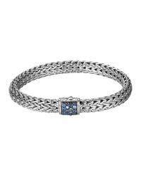 John Hardy | Blue Classic Chain 7.5mm Medium Braided Silver Bracelet for Men | Lyst