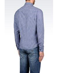 Armani Jeans | Blue Long Sleeve Shirt for Men | Lyst