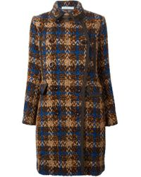 Sacai Luck - Brown Tweed Coat - Lyst
