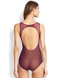 Jean Paul Gaultier - Purple Optical-Print Tulle One-Piece Swimsuit - Lyst