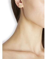 Marc By Marc Jacobs - Metallic Gold Tone Cream Enamel Stud Earrings - Lyst