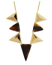 A.V. Max | Metallic Gold Metal And Tortoise Print Acrylic Spike Triangles Necklace | Lyst