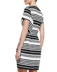 Shoshanna - White Porter Road Ponte Striped Dress - Lyst