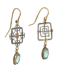 Judy Geib | Metallic Emerald, Gold & Silver Double-drop Earrings | Lyst