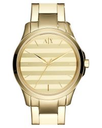 Armani Exchange | Metallic Stripe Dial Bracelet Watch | Lyst