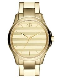 Armani Exchange - Metallic Stripe Dial Bracelet Watch - Lyst