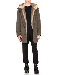 Yves Salomon | Green Cotton Parka With Fox Fur | Lyst