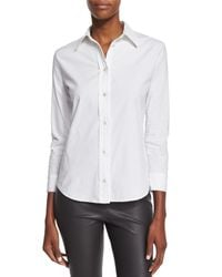 The Row - White 3/4-sleeve Stretch-cotton Blouse - Lyst