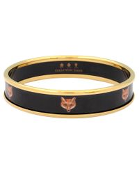 Halcyon Days | Black Halycon Days 18ct Gold Plated Enamel Fox Head Bangle | Lyst