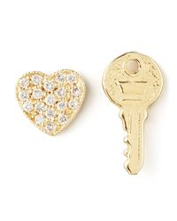 Zoe Chicco | Metallic Diamond Heart & Key Earrings | Lyst