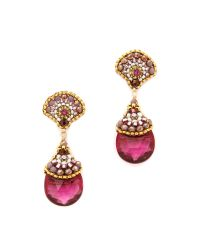 Miguel Ases | Scallop Stone Drop Earrings Pink Multi | Lyst