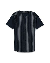 Forever 21 | Blue Striped Baseball Shirt for Men | Lyst
