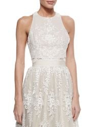 Alice + Olivia - White Blythe Embroidered Sleeveless Crop Top - Lyst