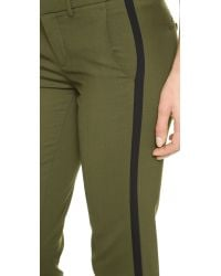 Vince - Green Double Strapping Trousers Fir Treeblack - Lyst