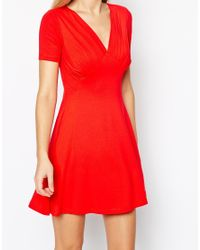 ASOS | Red Tall Skater Dress With Ruched Bust Detail | Lyst