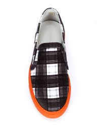 Carven - Black Checked Slip-On Sneakers for Men - Lyst