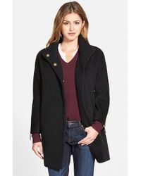 T Tahari | Black 'madison' Wool Blend Boucle Coat | Lyst