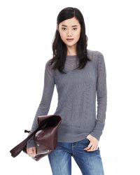 Banana Republic | Gray Lace-stitch Crew Pullover | Lyst