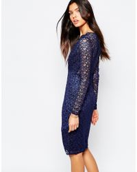 Lipsy - Blue Michelle Keegan Loves Lace Scallop Body-conscious Dress With Asymmetric Hem - Lyst