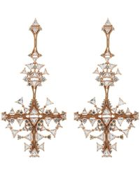 Fernando Jorge | Pink Diamond, Clear Topaz & Rose Gold Fusion Cross Earrings- | Lyst
