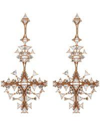 Fernando Jorge - Pink Diamond, Clear Topaz & Rose Gold Fusion Cross Earrings- - Lyst