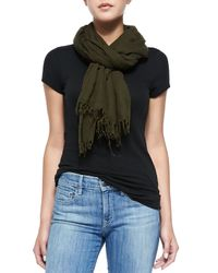 Vince - Green Fringed Scarf - Lyst