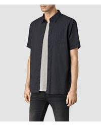 AllSaints - Black Deaux Short Sleeved Shirt for Men - Lyst