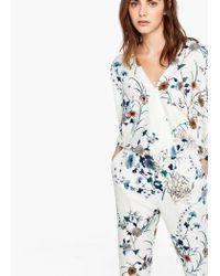 Mango - White Floral Long Jumpsuit - Lyst