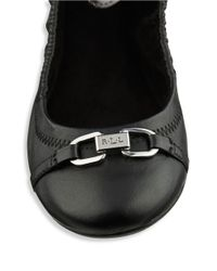Lauren by Ralph Lauren | Black Betsy Leather Ballet Flats | Lyst