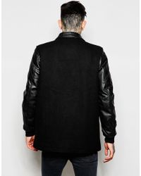 ASOS - Black Wool-blend Harrington With Faux Leather Sleeves for Men - Lyst