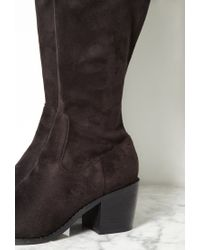 Forever 21 | Black Thigh-high Faux Suede Boots | Lyst