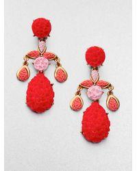 Oscar de la Renta - Green Textured Clipon Chandelier Earrings - Lyst