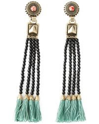 Etro | Black Tassel Bead Fringed Earrings | Lyst